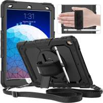 """timecity iPad Air 3 Case 2019 / iPad Pro 10.5 Case 2017 with Screen Protector Pencil Holder Rotating Kickstand Hand/Shoulder Strap.Rugged Durable Cover for iPad Air 3rd Gen 10.5""""/ Pro 10.5 - Black"""
