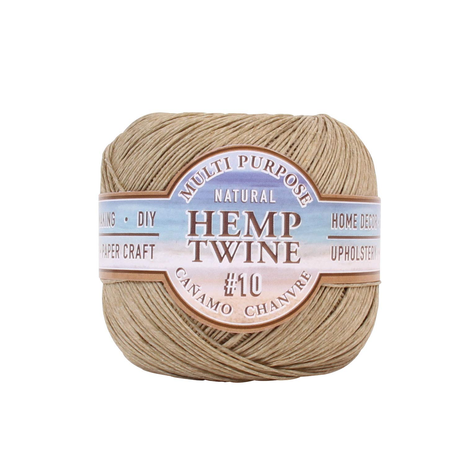 Hemptique Natural Hemp Twine #10 – Made with Love - Eco Friendly - Gardening - Macrame –Home Décor – Plant Hanger - Great for Jewelry Making, Crafts & More – #10~0.5mm (Single Pack)