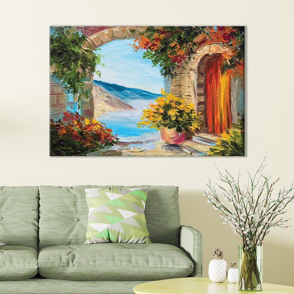 "wall26 Canvas Wall Art of European Vista Overlooking Water Painting | 12"" x 18"""