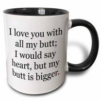 3dRose 200850_4 I Love You With All My Butt Mug, 11 oz, Black