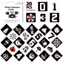 """Youwo Black White Baby Flash Cards,20 Cards 40 Pictures Infant Colorful Shape Visual Stimulation, 6.7"""" x6.7'' High Contrast Learning Toys for Newborn Infants Age 3 to 6 Months. (3-6 Months)"""