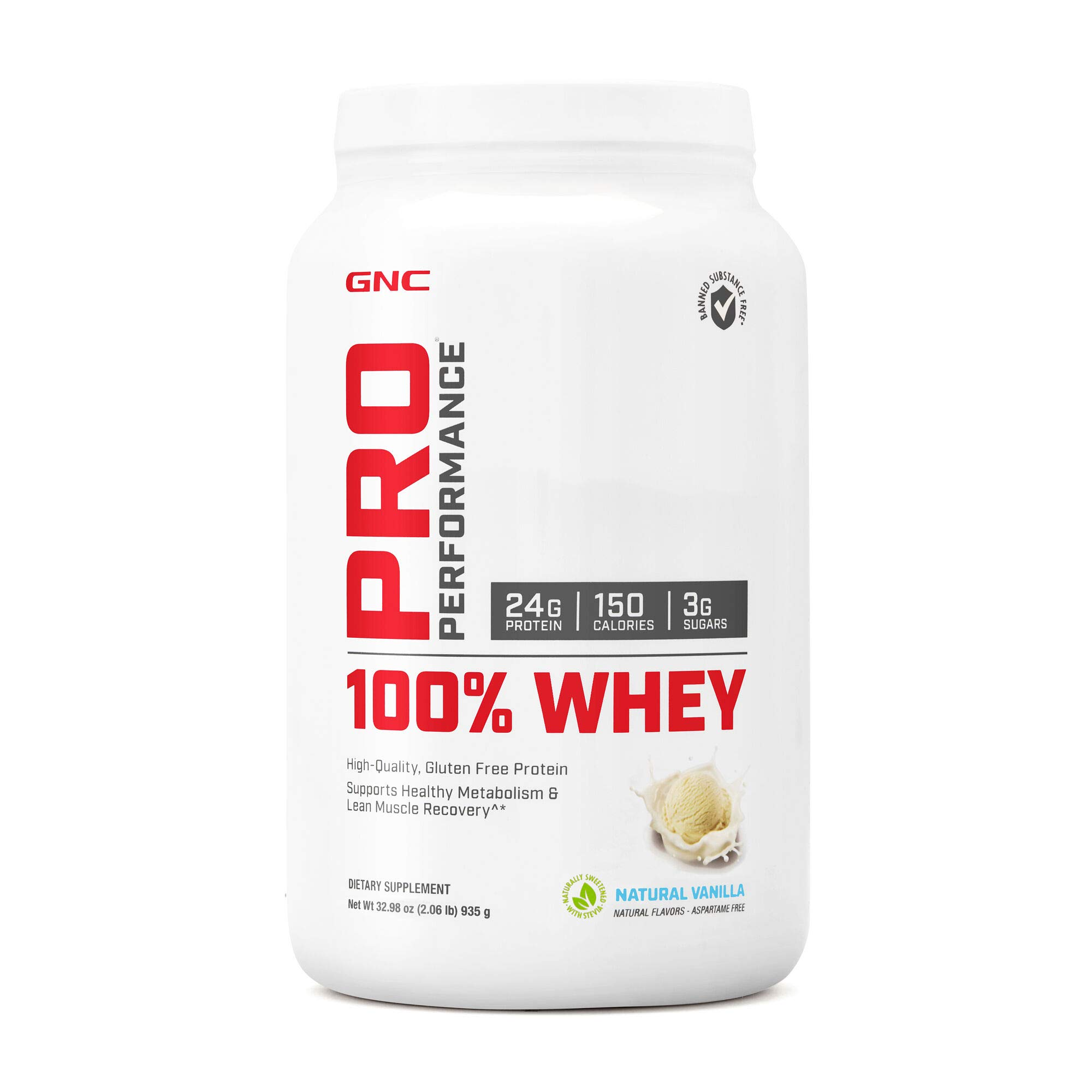 GNC Pro Performance 100% Whey Protein Powder - Vanilla Cream, 25 Servings, Supports Healthy Metabolism and Lean Muscle Recovery