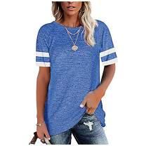 Women's Short Sleeve T-Shirt Crewneck Tees Loose Blouse Tops Causal Tunic Tops(S-XXL)