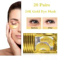 Aliver Under Eye Patches, 24K Gold Anti-Aging Under Eye Mask, Pads for Puffy Eyes & Bags, Dark Circles and Wrinkles, Hydrating, Deep Moisturizing Improves Elasticity, 20 Pairs