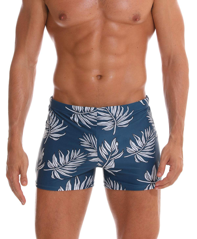 Aivtalk Men Swim Trunks Boxer Briefs Square Compression Leg Short Swimsuit