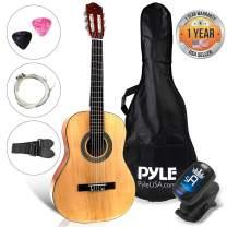"Beginner 30"" Classical Acoustic Guitar  6 String Junior Linden Wood Traditional Guitar w/ Wooden Fretboard, Case Bag, Strap, Tuner, Nylon Strings, Picks, Great for Beginner, Children  Pyle PGACLS30"