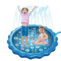 """HooTown Sprinkler Splash Play Pad for Kids Dogs, 68"""" Inflatable Outdoor Toys Splash Mat for Kids Wading and Learning, Fun Water Game Toys Shallow Pool Ocean Life for Infant Boys & Girls"""
