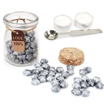Sealing Wax Beads Set, Yoption 120 Pieces Silver Star Shape Seal Wax Kit with 1 Wax Melting Spoon and 2 Candles for Wax Seal Stamp (Silver)