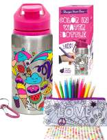 Purple Ladybug Color Your Own Water Bottle for Girls with 10 Bright Markers, Rhinestone Gem Stickers & a Bonus Pencil Case! BPA Free, 20 oz Kids Water Bottle! Cute Girl Gift, Fun DIY Arts & Craft Kit!