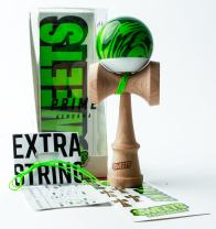 Sweets Kendamas Grain Split 2.0 Prime Kendama, Premium Skill Toy, Extra String Accessory Gift Bundle (Veggie)