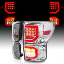 AmeriLite for 2007-2013 Toyota Tundra Pickup Clear Chrome [Full LED] Dual C-Type Tube Replacement Tail lights Brake Lamp Pair - Passenger and Driver Side