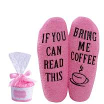 Moyel If You Can Read This Socks, Coffee Fuzzy Socks Coffee Gifts For Women
