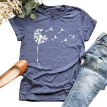 Cicy Bell Women's Cute Dandelion T Shirts O Neck Graphic Tees Casual Short Sleeve Summer Tops