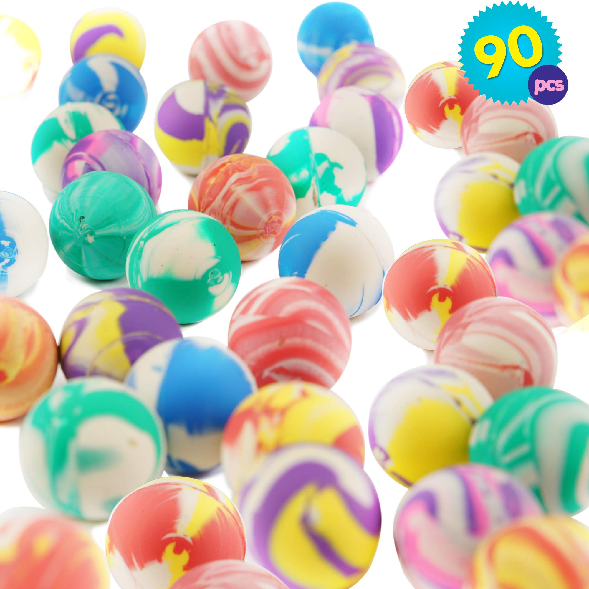 THE TWIDDLERS 90PCS Super Bouncy Balls Bulk   Assorted Multicolor High Bouncing Balls Toys   Bouncy Balls Toys for Kids   Party Bag Filler Balls   Birthday Party Favor Balls   Easter Party Favors Toys
