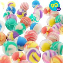 THE TWIDDLERS 90PCS Super Bouncy Balls Bulk | Assorted Multicolor High Bouncing Balls Toys | Bouncy Balls Toys for Kids | Party Bag Filler Balls | Birthday Party Favor Balls | Easter Party Favors Toys