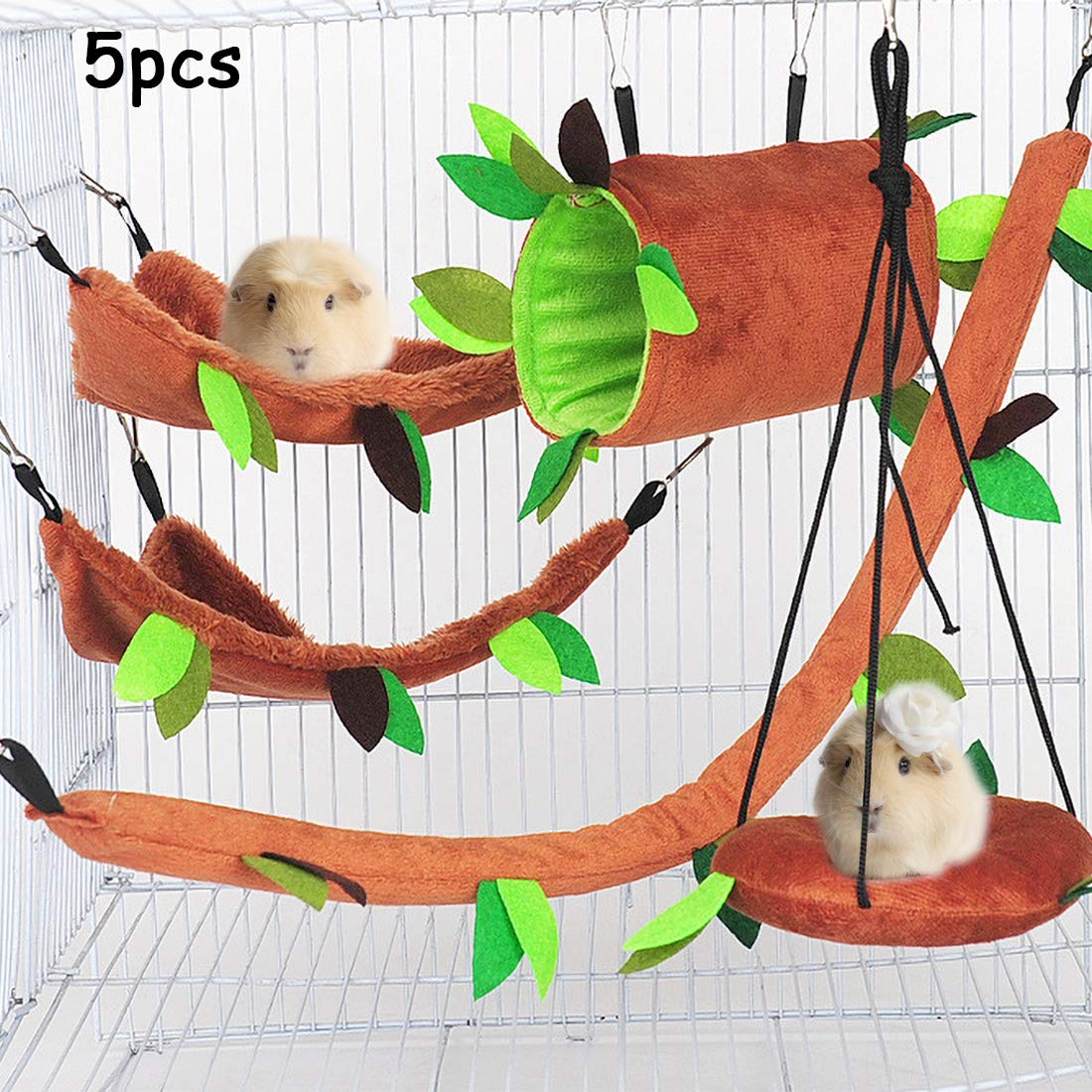 Hamiledyi Hamster Hammock,Hamster Hanging Swing Tunnel Cage Accessories Toys for Small Animal Sugar Glider Chinchilla Squirrel Hamster Rat Playing (5 Pcs)