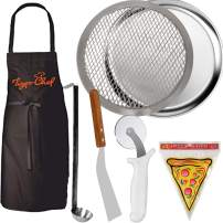 """Tiger Chef 12"""" Pizza Making Kit. Pizza Pro Set Includes Kitchen Tools to Create Your Own Homemade Pizza. 12"""" Pizza Pan, 12"""" Pizza Screen, Pizza Wheel, Server, Ladle, Apron & 12 Pizza Saver Bags"""