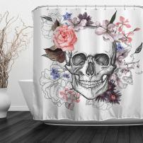 "Baccessor Skulls Shower Curtain Sugar Roes Flowers Skull Skeleton Halloween All Saints Day Black and White Waterproof Bathroom Decor with Hooks,60"" W x 72"" H (150CM x 180CM) - Beautiful Skull"