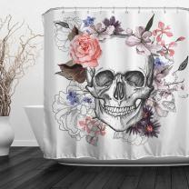 "Baccessor Skulls Shower Curtain Sugar Roes Flowers Skull Skeleton Halloween All Saints Day Black and White Waterproof Bathroom Decor with Hooks,72"" W x 72"" H (180CM x 180CM) - Beautiful Skull"