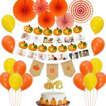 Little Pumpkin 1st Birthday Decorations with Pumpkin Photo Banner, One Cake Topper, Highchair Banner, Orange Paper Fans