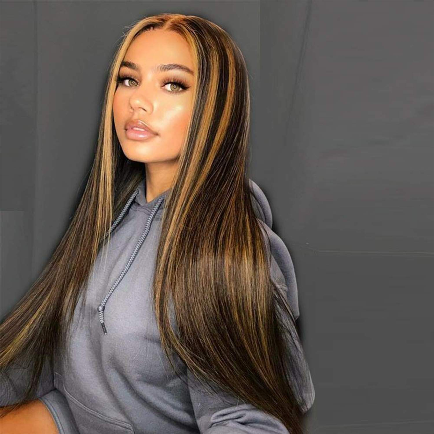 Long Wigs for Women Straight Highlights Wig Middle Part Highlights Synthetic Hair Wigs for Women Hair Replacement Wigs For Daily Party Wear