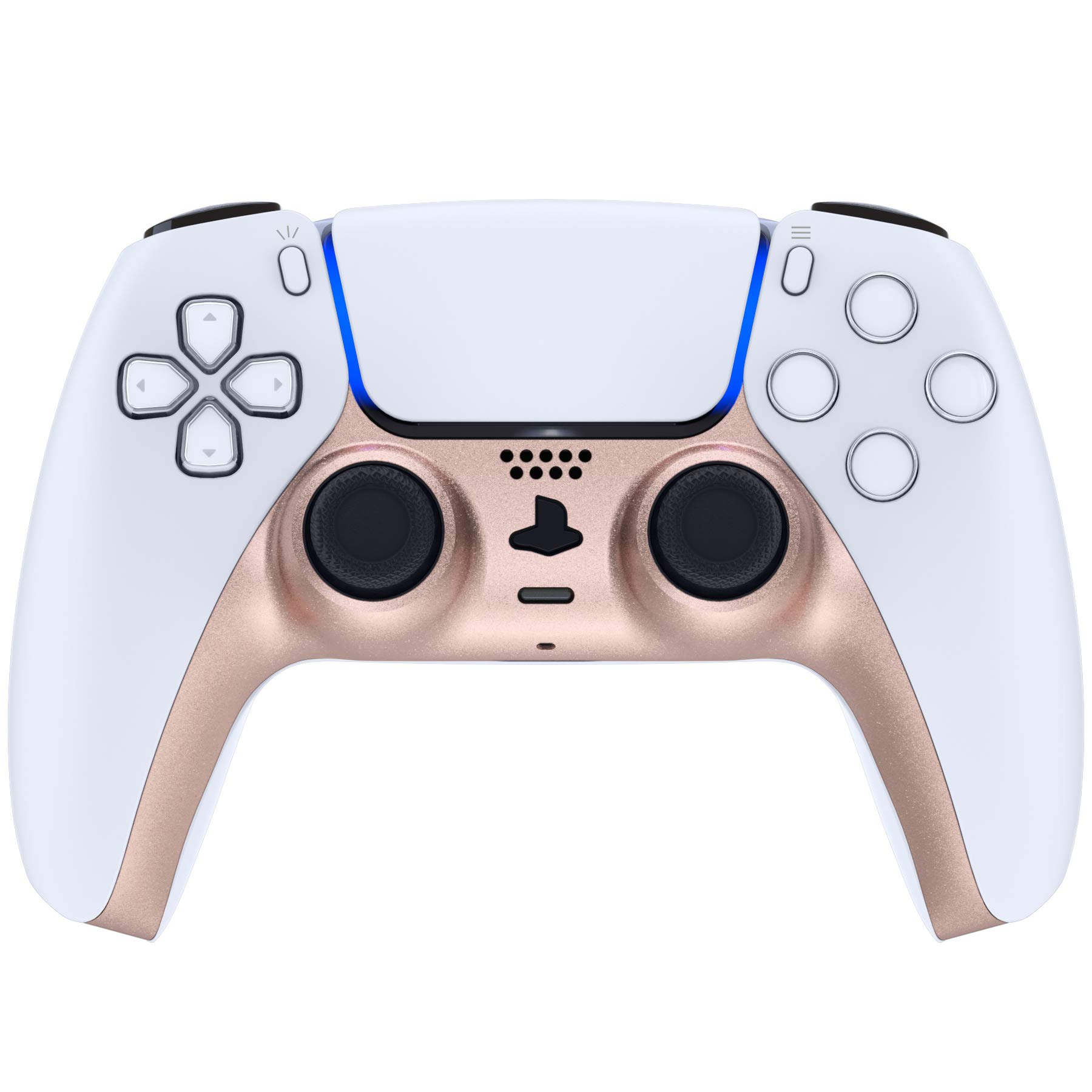 eXtremeRate Metallic Rose Gold Decorative Trim Shell for DualSense 5 Controller, DIY Replacement Clip Shell for PS5 Controller, Custom Plates Cover for Playstation 5 Controller w/Accent Rings