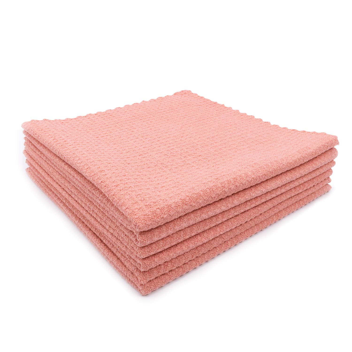 """SHSCLY Waffle Weave Microfiber Drying Towel Cleaning Cloth Water Absorption Decontamination Lint-Free Streak-Free Soft for Kitchen Household Car (Pink, 6 Pack 16"""" x 16"""")"""
