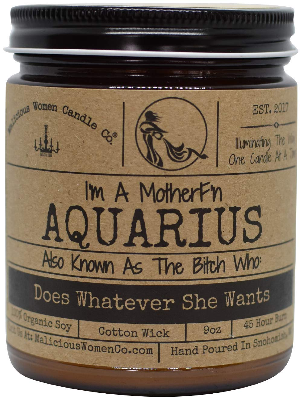 Malicious Women Candle Co - Aquarius The Zodiac Bitch - Does Whatever She Wants, Exotic Hemp (Cannabis Flower & Patchouli), All-Natural Organic Soy Candle, 9 oz