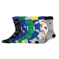 HAPPYPOP Men's Math Space Science Pack Socks,Novelty Formula Sport School Design