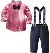 Baby Boy's 2 Pieces Tuxedo Outfit, Long Sleeves Plaids Button Down Dress Shirt with Bow Tie + Suspender Pants Set Suit for Infant Newborn Toddlers, Red, Tag 120 = 3-4 Years