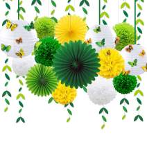Spring Summer Yellow Green Party Decoration Kit Hanging Paper Fans Lanterns Flowers Pom Pom with 3D Butterfly Green Leaves Garland for Birthday Wedding Engagement Baby Shower Garden Party Decorations