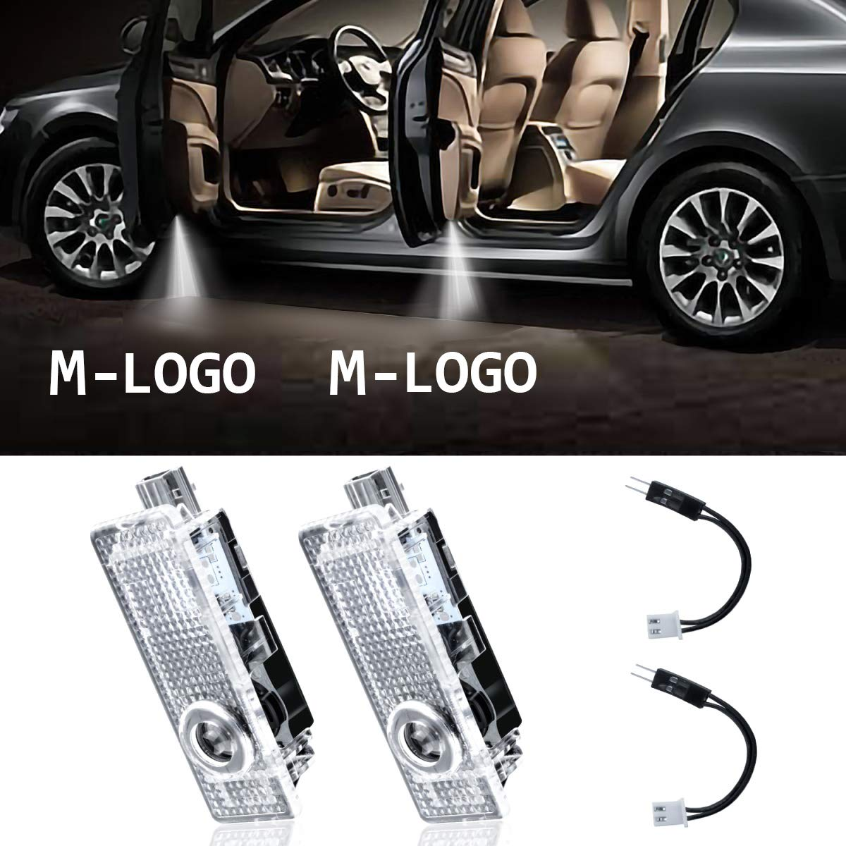 Eogifee Sports LED Car Door Light for The Replacement of BMW Projector Courtesy Laser Ghost Shadow Light Welcome Lights Logo Lamps for The M 3 5 6 7 X Z GT Mini Series(2 Pack)