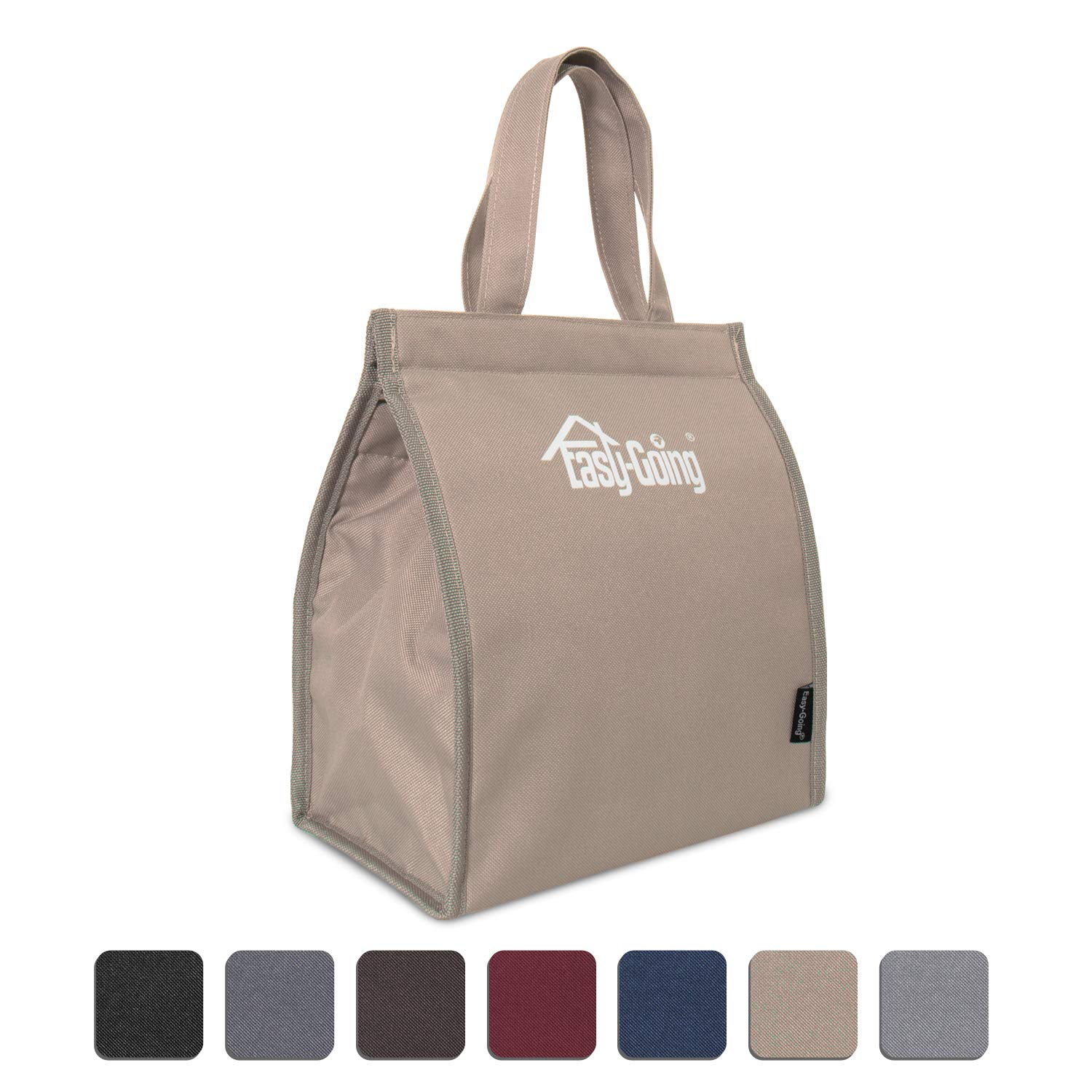 Reusable Insulated bag for hot and cold food, Foldable, Waterproof, Heavy Duty, Eco-Friendly, Insulated Bag for Food Delivery, Picnic, Party, Travel, BBQ (S,Camel)