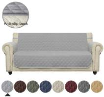 """Ameritex Couch Sofa Slipcover 100% Waterproof Nonslip Quilted Furniture Protector Slipcover for Dogs, Children, Pets Sofa Slipcover Machine Washable (style2 Light Grey, 68"""")"""
