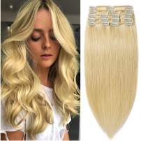 16 inch 90g Clip in Remy Human Hair Extensions Full Head 8 Pieces Set Long length Straight Very Soft Style Real Silky for Beauty #24 Natural Blonde
