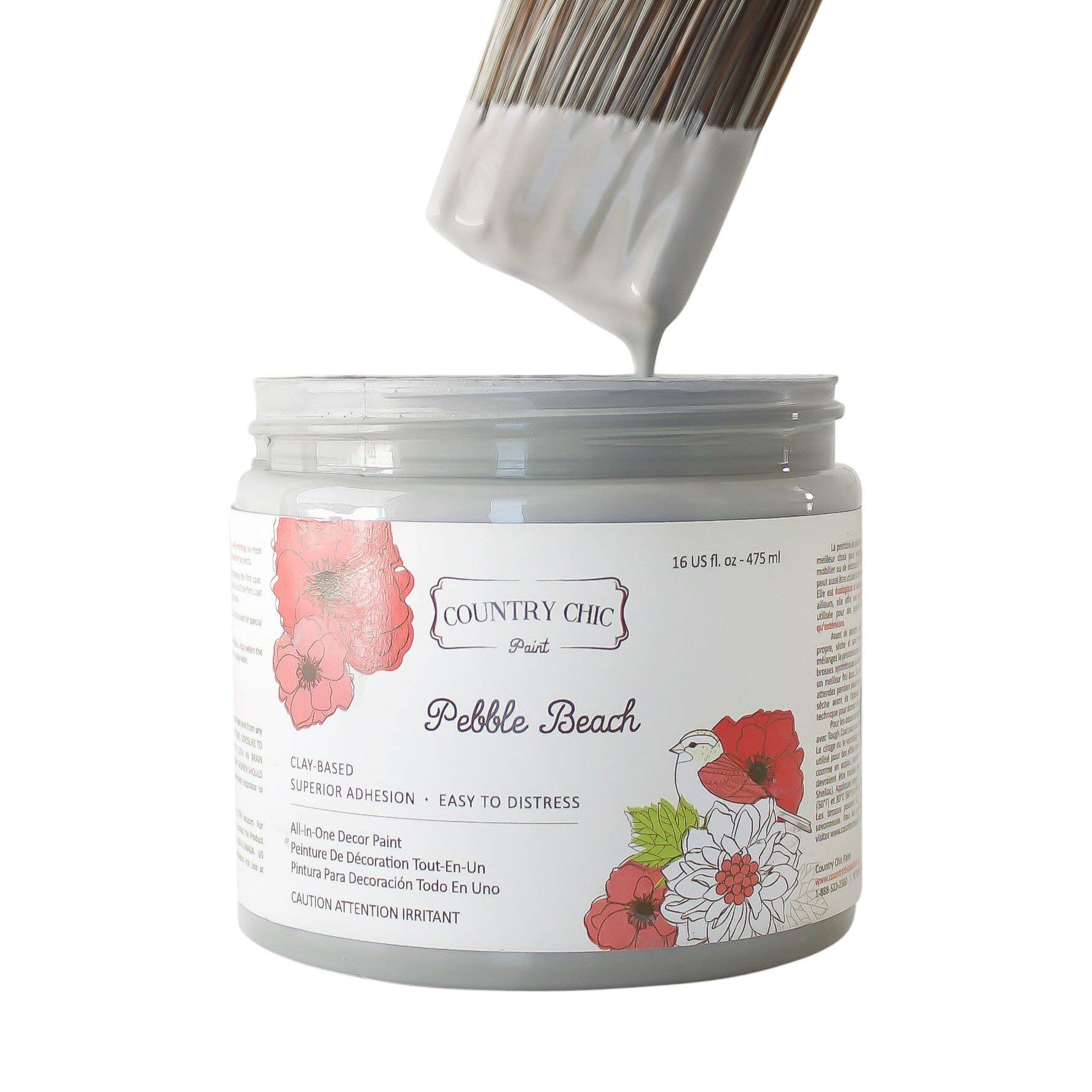 Chalk Style Paint - for Furniture, Home Decor, Crafts - Eco-Friendly - All-in-One - No Wax Needed (Pebble Beach [Grey], Pint (16 oz))