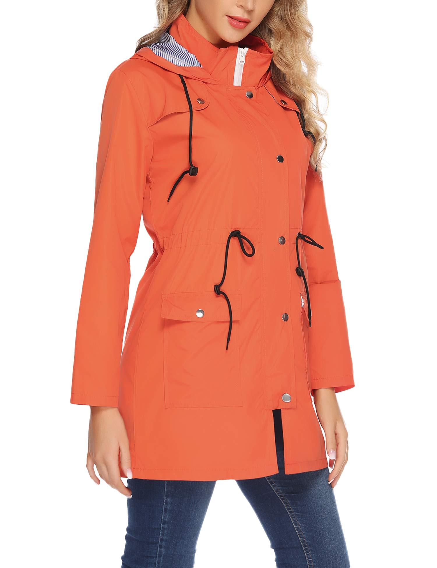 Aiboria Womens Waterproof Lightweight Windbreaker Raincoat Hooded Rain Jacket