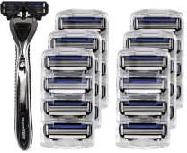 Shave Mob: The Average Joe - Men's 4 Blade Shaving Razor - 24pk Refill - Non-slip Handle - Precision-Cut Blades - Clog Resistant - Lubrication Strip: Chamomile, Olive Oil, Allantoin