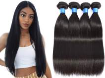 "INNATE COLLECTION CHARIS Brazilian Human Hair Bundles 4 Straight Remy Bundles Hair 100% Unprocessed Human Hair Extensions Weaves Hair Products Natural Color 95-100g/pc (22""22""22""22"")"