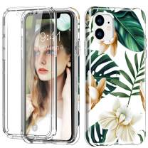 "iPhone 11 Pro Max Case, [Built-in Screen Protector] Flower Full Body Shockproof Dual Layer High Impact Protective Hybrid Hard Plastic & Soft TPU Cover Case for iPhone 11 Pro Max 6.5"",White/Green Flowe"