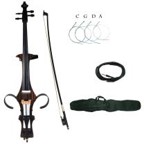 Kinglos 4/4 Coffee Zebra Colored Solid Wood Electric/Silent Cello Kit with Bag, Bow, Rosin, Aux Cable, Earphone, Extra set of strings Full Size (DSDT1807)