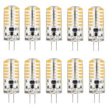 KINGSO G4 LED Bulb 10 Pack 3W Bi-Pin LED Light Bulb 48×3014 SMD 20W Halogen Bulb Equivalent Silicone Coated Shatterproof 220 Lumens 360° Beam Angle AC/DC 12V - Warm White
