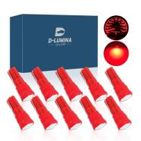 D-Lumina 10 Pack T5 LED Bulb Dashboard Dash Light Red 1-SMD 5050 Chipsets Wedge 74 2721 37 17 73 PC74 LED Bulbs for Car Interior Gauge Cluster Instrument Panel Indicators Lights