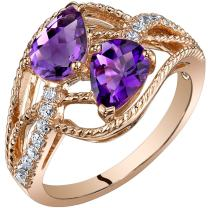 14K Rose Gold Two Stone Amethyst Ring Pear Shape 1.25 Carats Sizes 5-9