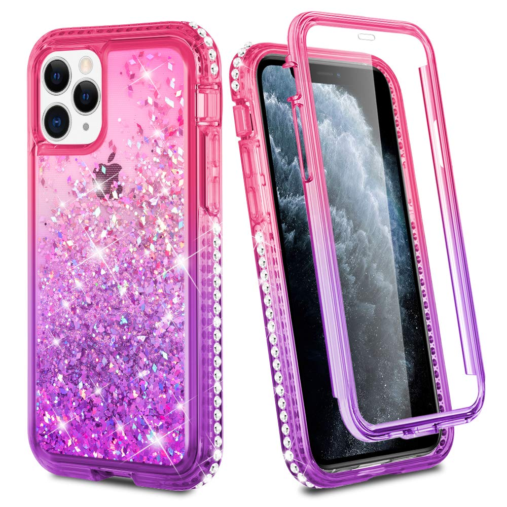 Ruky iPhone 11 Pro Max Case, iPhone 11 Pro Max Glitter Case Full Body Rugged Liquid Cover with Built-in Screen Protector Shockproof Protective Case for iPhone 11 Pro Max 2019 (Pink Purple)