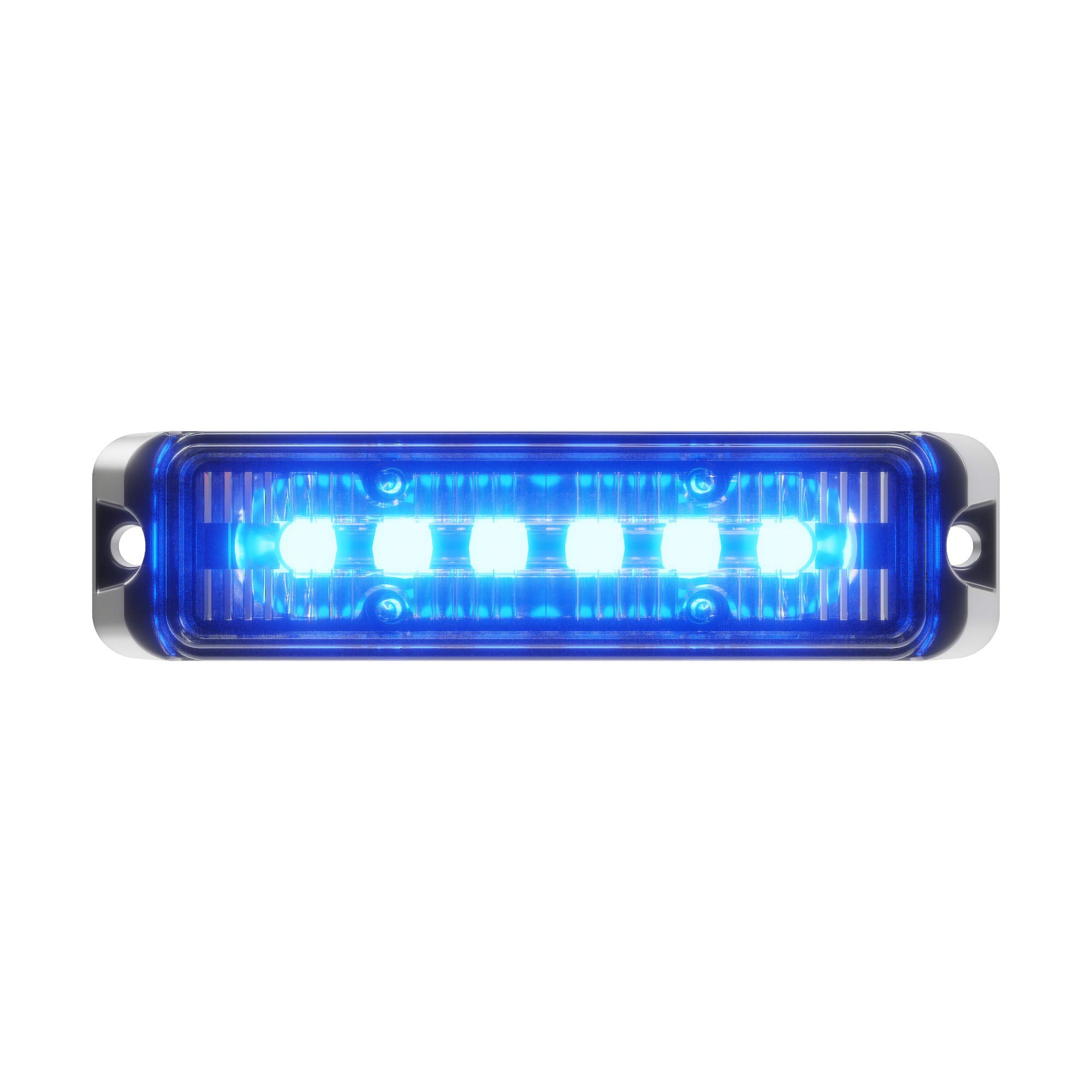 Abrams Flex Series (Blue/Blue) 18W - 6 LED Police & EMS Vehicle Truck LED Grille Light Head Surface Mount Strobe Warning Light