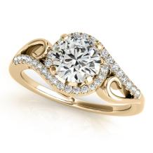 MauliJewels 0.5 Ct. Ttw Halo Round Cut Antique Diamond Engagement Ring for Women |4 Prong 14K Solid White Rose Yellow Gold | 1/2 ctw Genuine Diamond