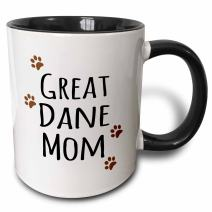 3dRose Dane Dog Mom Mug, 11 oz, Black
