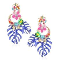 Statement Earrings for Women Gorgeous Crystal Rhinestone Alloy Sequin Flower Drop Dangle Earring Ear Jewelry Accessory Present for Mom Sister with Gift Box