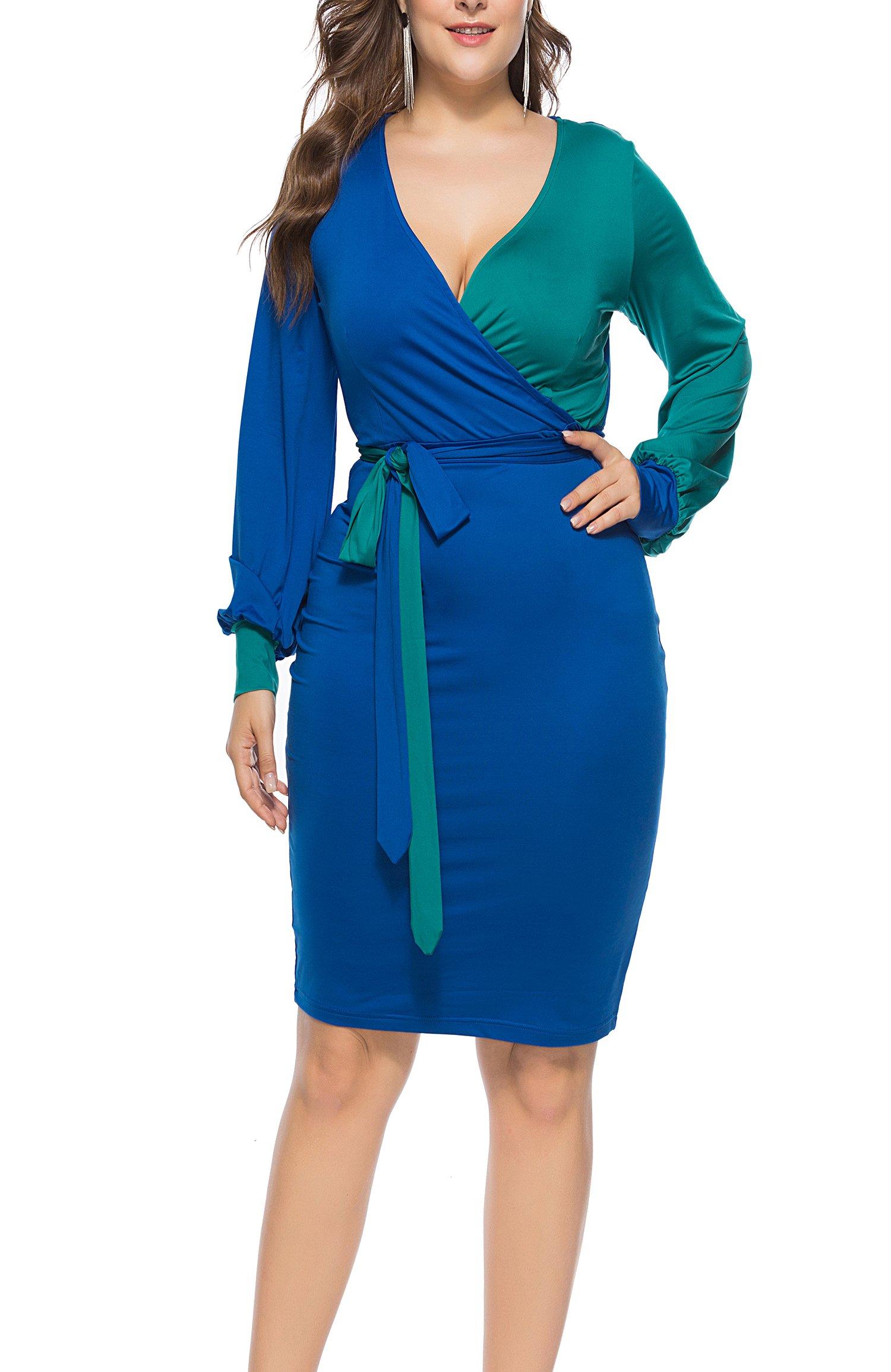 FACE N FACE Womens Sexy Deep V-Neck Midi Bodycon Dresses Long Sleeve Tie Front Colorblock Pencil Dress Mediun Blue